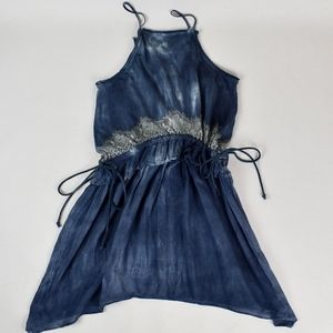 (TOPSHOP) Blue Tie Dye Lace Mini Sun Dress